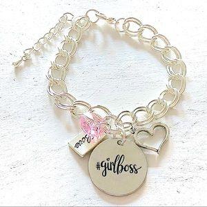 Girl Boss #girlboss Silver Charm Bracelet